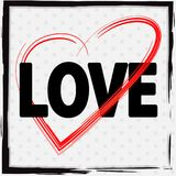 Font design for love with red heart. Illustration stock illustration