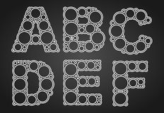 Font design made of circles in the letters Royalty Free Stock Photos