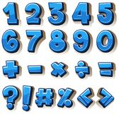 Font design for numbers and signs in blue. Illustration Stock Photo