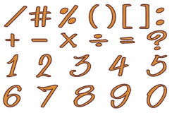 Font design for numbers and signs in brown color Royalty Free Stock Photo