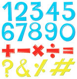 Font design for numbers and signs. Illustration Vector Illustration