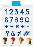 Font design for numbers and signs Stock Images