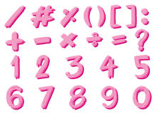 Font design for numbers and signs in pink color Royalty Free Stock Image
