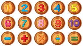 Font design for numbers and signs on round badges Royalty Free Stock Images