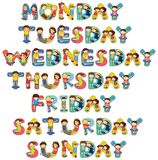Font design for seven days of the week with kids. Illustration Stock Photos