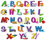 Font design A to Z with pictures. Illustration Royalty Free Stock Image