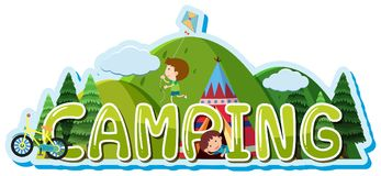 Font design for word camping with kids in tent