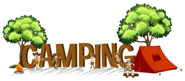 Font design for word camping with kids and tent royalty free illustration