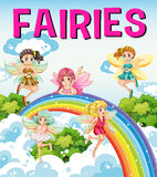 Font design for word fairies. Illustration Royalty Free Stock Photo