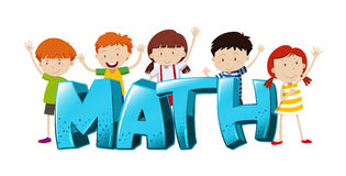 Font design for word math with boys and girls Royalty Free Stock Images