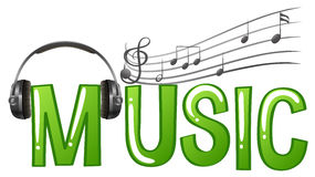 Font design for word music with headphone and music notes. Illustration Stock Photos