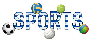 Font design for word sports with different balls Royalty Free Stock Photos