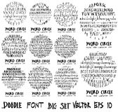 Font doodle illustration circle form wallpaper background line s. Ketch style set Royalty Free Stock Photos