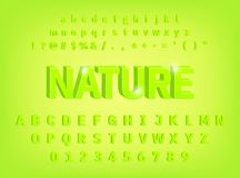 3d bold Alphabet Nature typeface design stock illustration