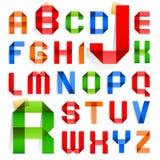 Font folded from colored paper - Alphabet. Font folded from colored paper - Roman alphabet royalty free illustration