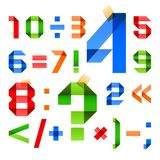 Font folded from colored paper - Arabic numerals. 10eps stock illustration