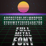Font. Full metal font. Stylish font simulating chromed metal Royalty Free Stock Image