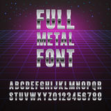 Font. Full metal font. Stylish font simulating chromed metal Royalty Free Stock Photography