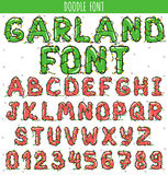 Font garland. New Year and Christmas Alphabet decorated with garland Stock Photography