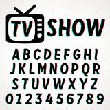 Font with glitch and 3D effect. Vector distorted retro CRT screen alphabet Royalty Free Stock Image