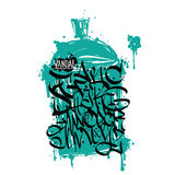 Font graffiti grunge and cans Royalty Free Stock Photo