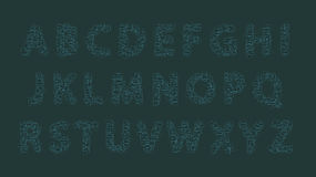 Font from gray-blue-green rectangles. Vector illustration of the highlighted text boxes, gray and blue-green color Royalty Free Stock Photography