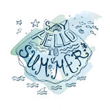 Font hand drawn composition about sea summer days Stock Photos