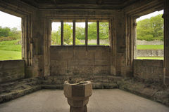 Font, Haughmond Abbey ruins, Shrewsbury Royalty Free Stock Images