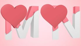 Font Heart M and N. Letters M and N capitalization color pink inside the white broken Letters with a big red heart stock illustration