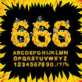 666 font. Hell ABC. Fire letters. Sinners in fiery Gehenna. Infe. Rnal Alphabet. Scrape down flame for sins. torture skeletons stock illustration