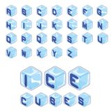 Font ice cubes style on white background. 3d isometric alphabet set. font ice cubes style on white background. Letters. vector typography for headlines, posters Royalty Free Stock Images