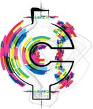 Font Illustration. Cent Symbol. Vector illustration Stock Photos