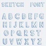 font L'alfabeto segna la scheda con lettere di gesso Schizzo disegnato a mano blu su fondo di carta allineato illustrazione di stock