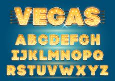 Font with lamps. Gold Light Bulb, Broadway style. Glowing sparkles Alphabet Set. Template Cartoon Vector illustration. For party poster or for circus, movie stock illustration