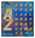 Font lowpoly on abstract background low poly textured triangle s. Hapes in random pattern design royalty free illustration