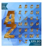 Font lowpoly on abstract background low poly textured triangle s. Hapes in random pattern design stock illustration