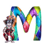 Font M Watercolor hand drawn monkey. With hat royalty free illustration