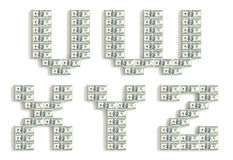 Font made of dollar packs. Royalty Free Stock Photo