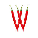 Font made of hot red chili pepper isolated on white - letter W Stock Images