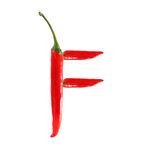 Font made of hot red chili pepper  letter F Stock Images