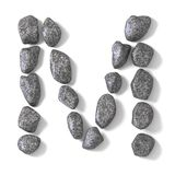 Font made of rocks LETTER M 3D Royalty Free Stock Image