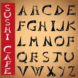 Font made under the Japanese hieroglyphs design .  Royalty Free Stock Images