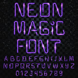Font magic. Bright, shiny font. Electric letters, numbers, light effects Stock Photography