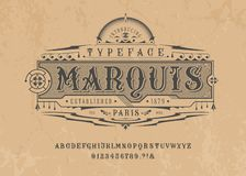 Font Marquise. Pop vintage art letters, numbers