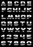 Font metal. Vector letters and figures with effect of metal Stock Photography