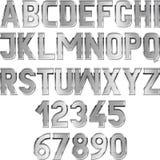 Font. Metallic textured font - vector illustration Royalty Free Stock Photos