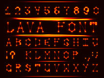 Font molten metal. Robotic font in the style of hot metal. The letters and numbers Royalty Free Stock Images