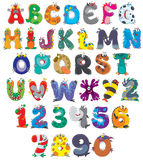 Font Monsters. English alphabet and numbers with funny monsters Royalty Free Stock Photos