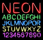 Font neon light  Stock Photo