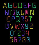 Font neon. Realistic brilliant, fluorescent font for holiday decoration Stock Photo